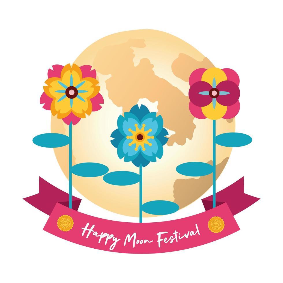 carte de festival mi automne avec icône de style plat lune et fleurs vecteur