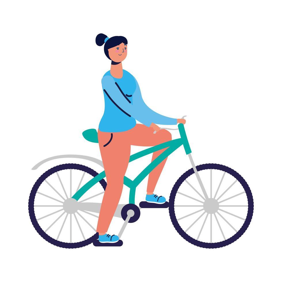 jeune femme, vélo vecteur