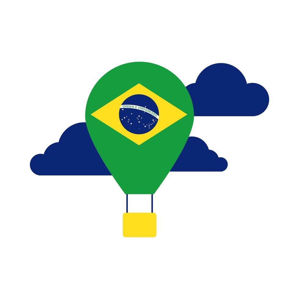drapeau du brésil en icône de style plat chaud air ballon vecteur