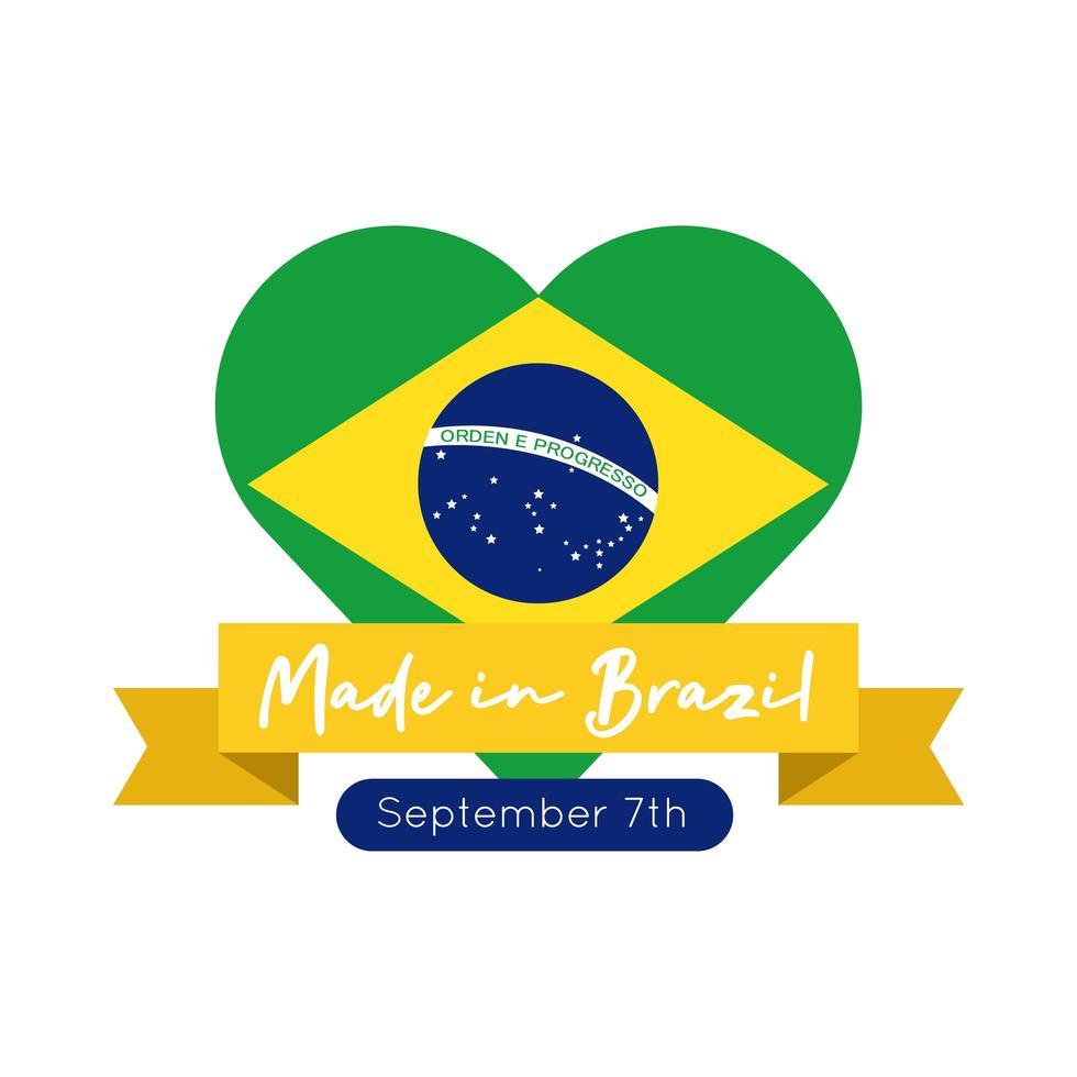 made in brésil bannière avec drapeau en style plat coeur vecteur