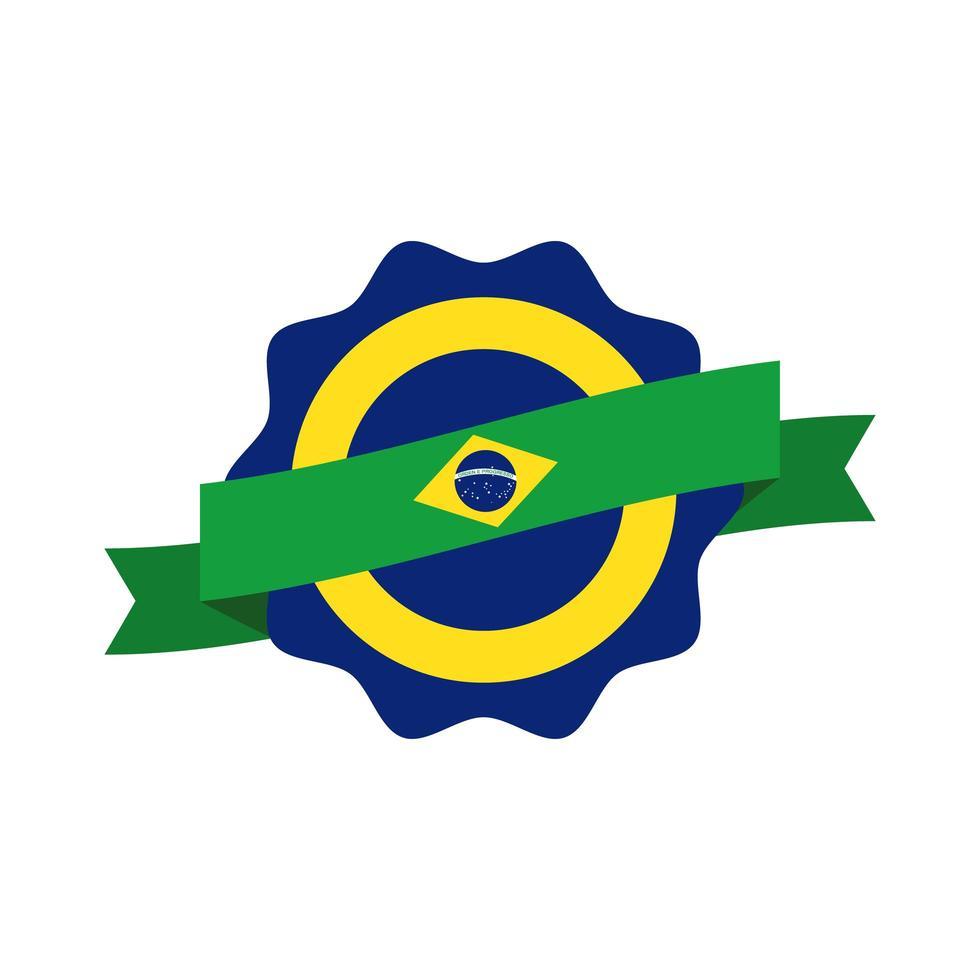 icône de style plat timbre drapeau brésil vecteur