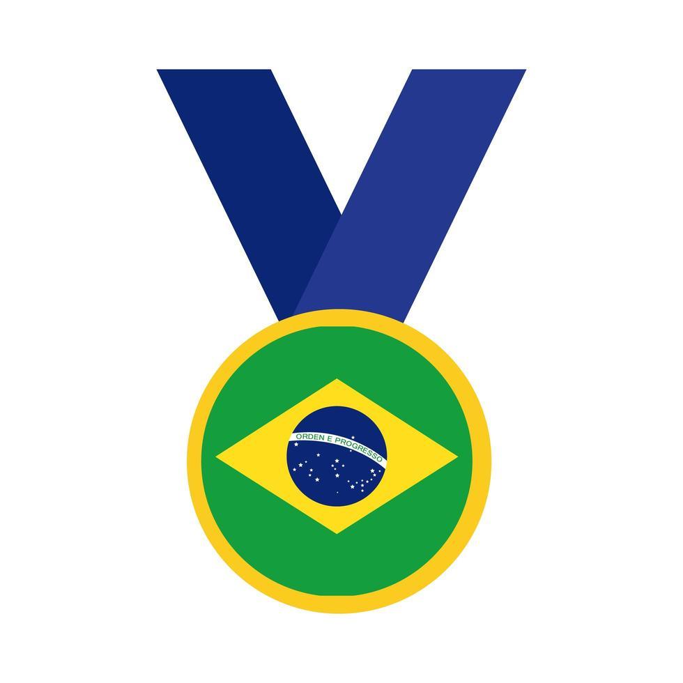 drapeau du brésil sur l'icône de style plat médaille vecteur