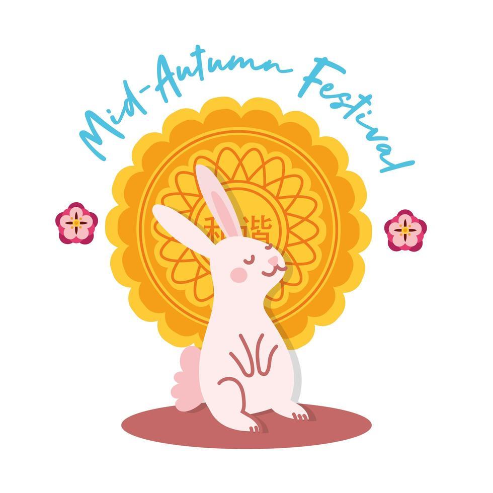 carte de festival mi automne avec icône de style plat lapin et dentelle vecteur