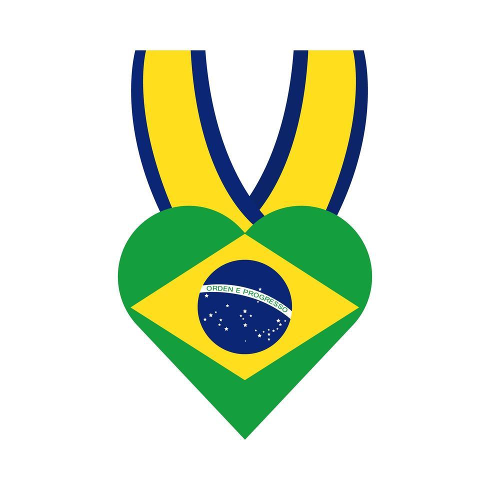 drapeau du brésil en icône de style plat médaille coeur vecteur