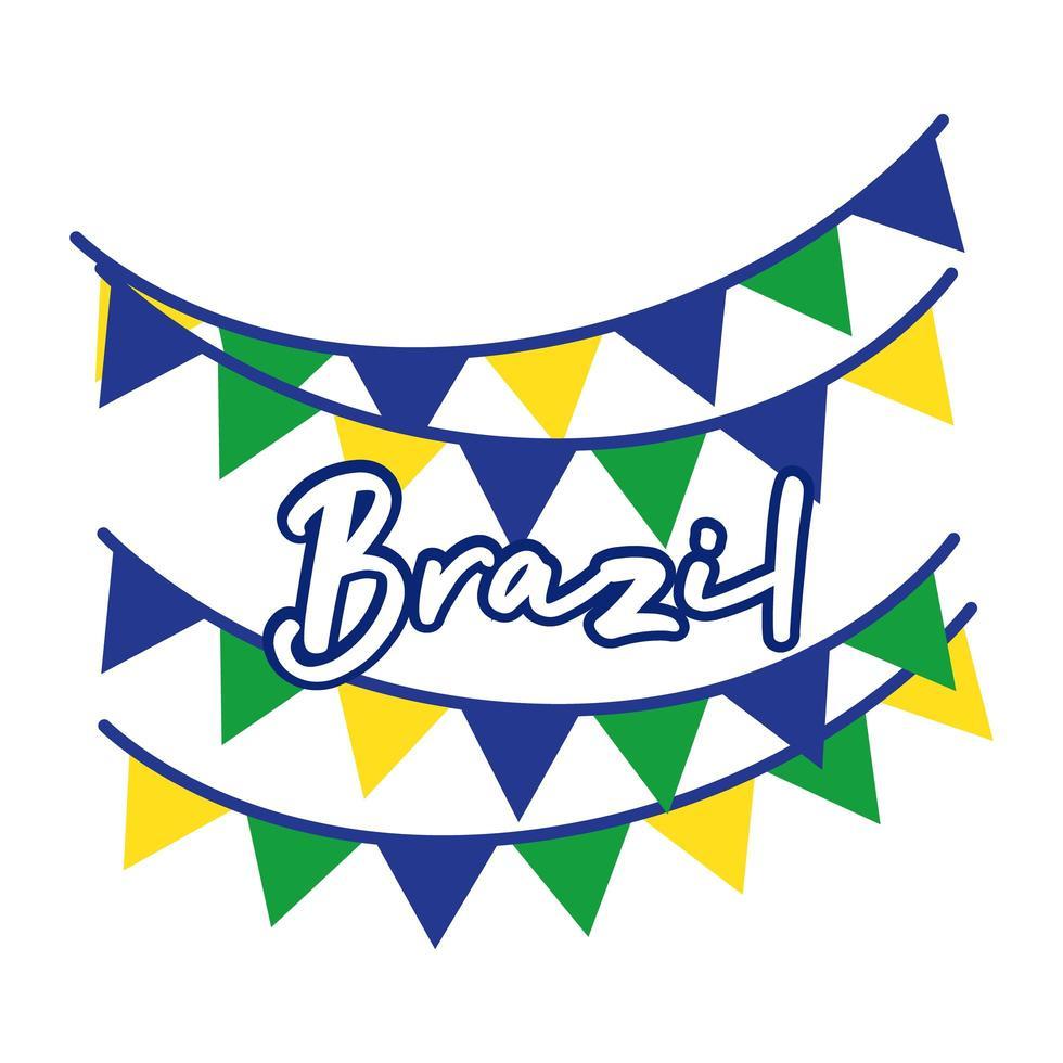 drapeau brésil guirlandes icône de style plat vecteur