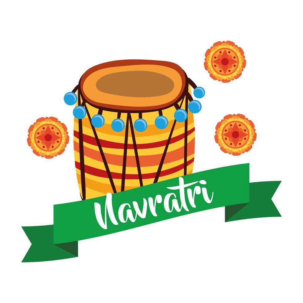 joyeuse fête navratri avec lacets et style plat décoratif de tambour vecteur