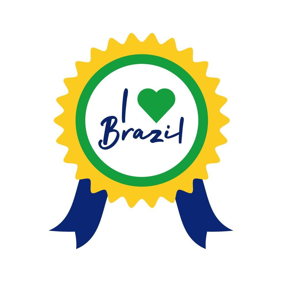 J'aime le cachet du Brésil avec l'icône de style plat coeur vecteur