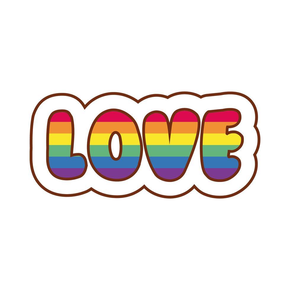 mot d'amour avec des couleurs de fierté gay vecteur