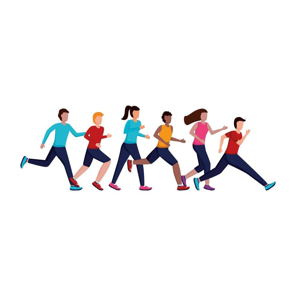 jeunes qui courent vecteur