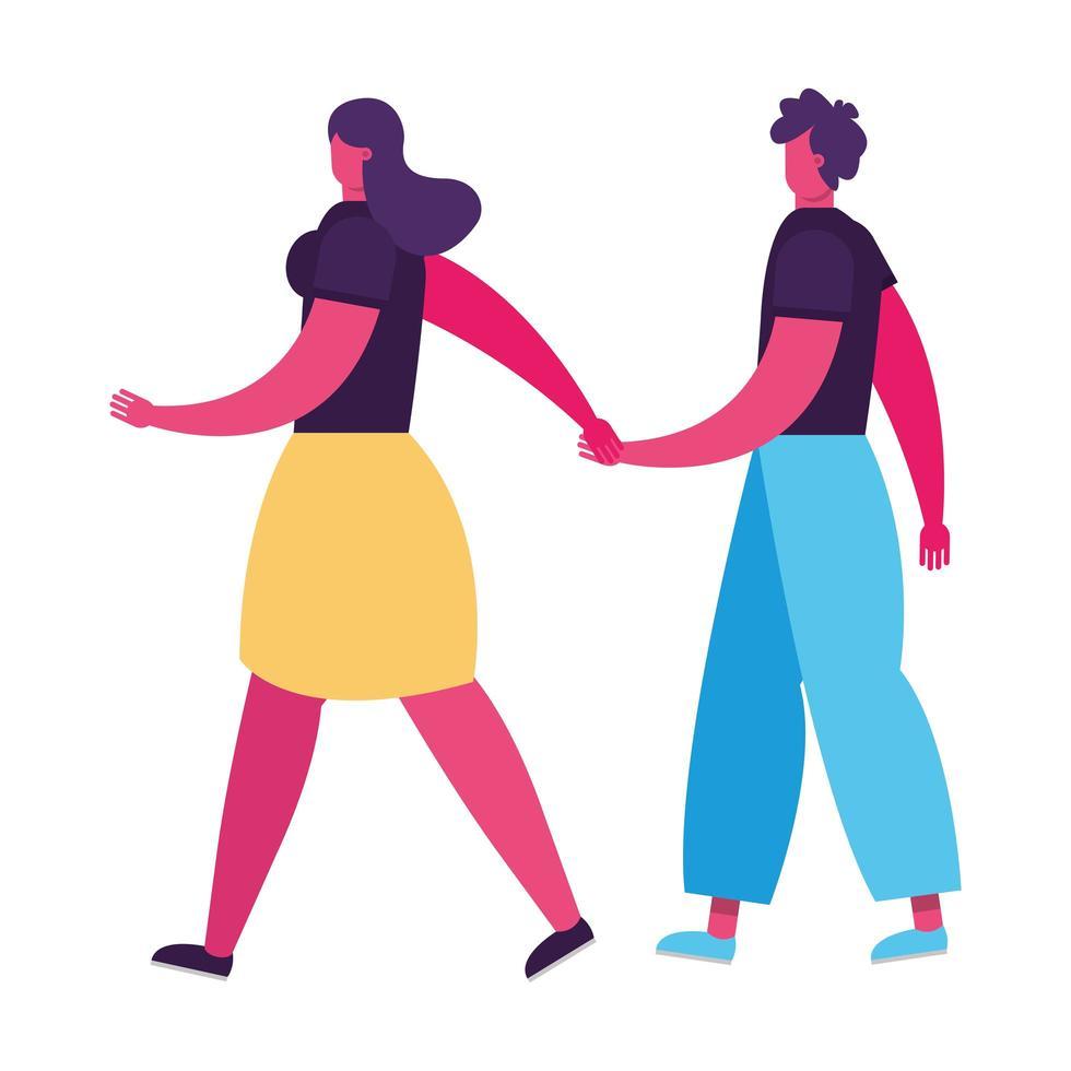 jeune couple marchant et main dans la main vecteur