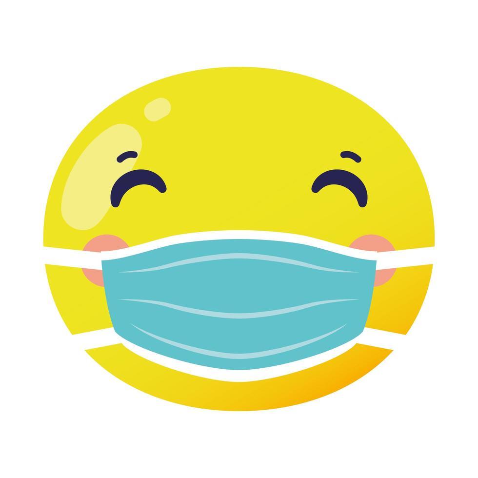 visage emoji portant icône de style plat masque médical vecteur