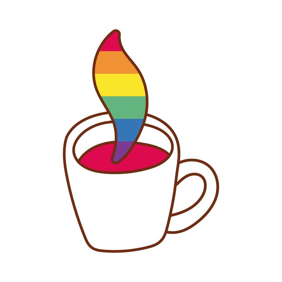 tasse à café aux couleurs de la fierté gay à vapeur vecteur