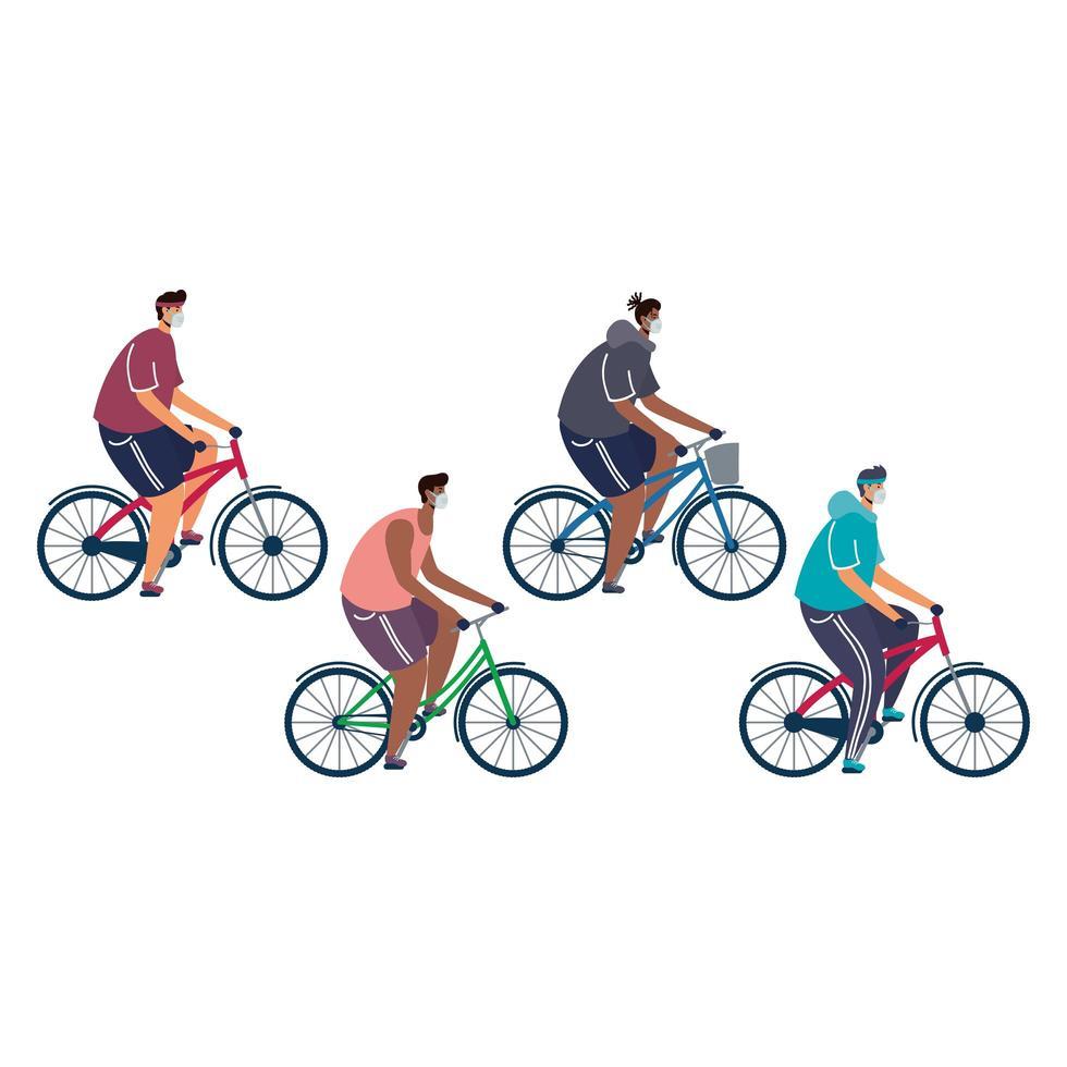 jeunes hommes portant des masques médicaux sur des vélos vecteur