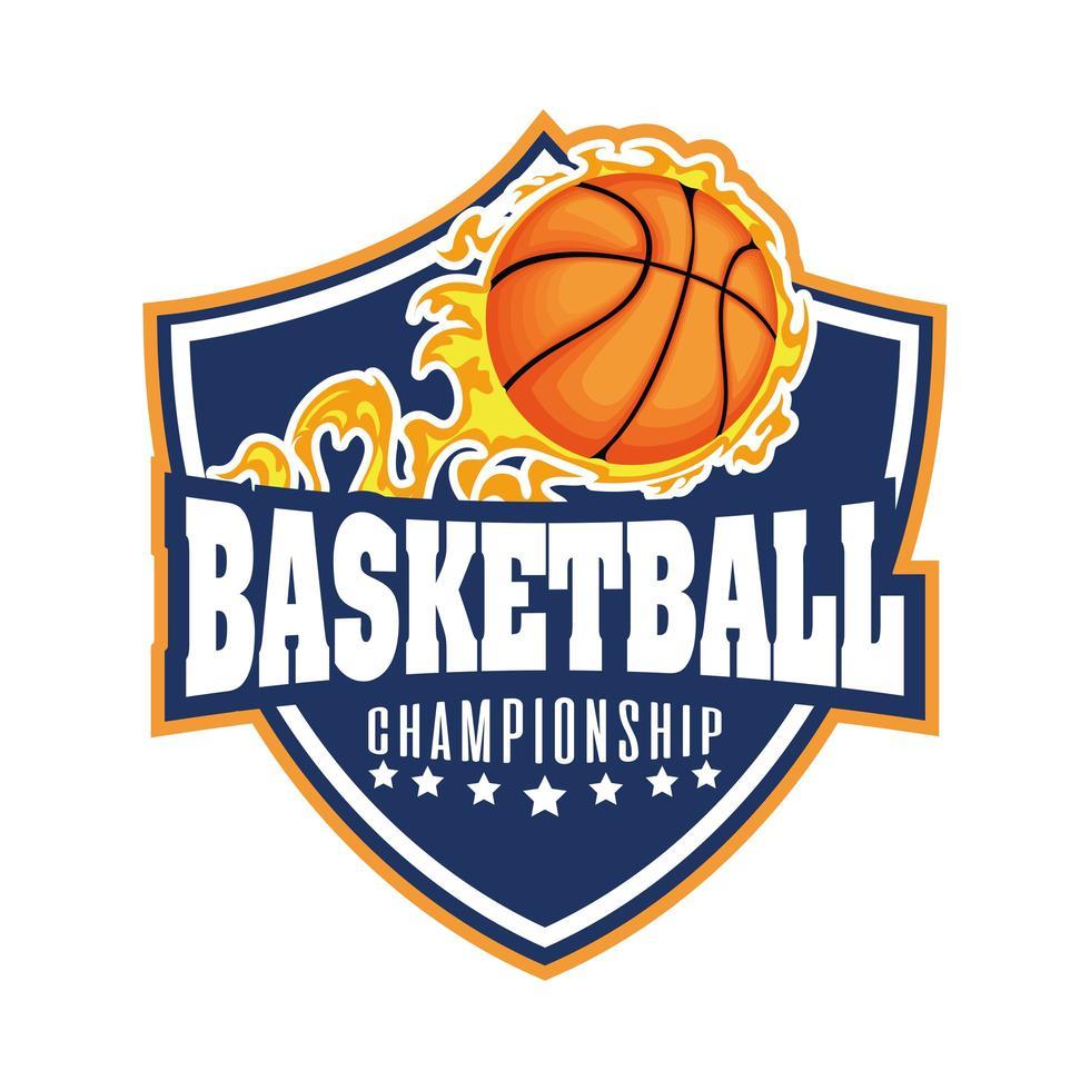 Crête du tournoi de basket-ball avec ballon de basket en feu vecteur