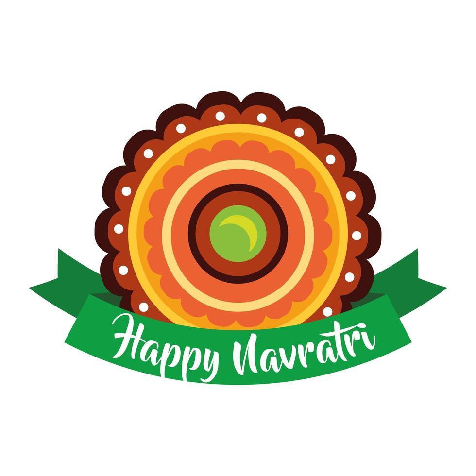 joyeuse fête navratri avec style plat décoratif et ruban vecteur