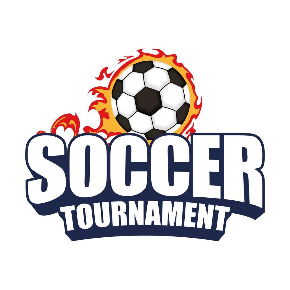 icône de tournoi de football avec ballon en feu vecteur