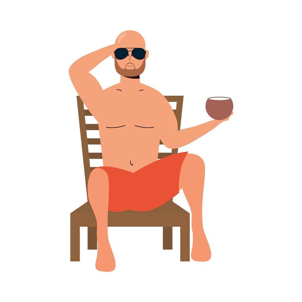 Homme portant un maillot de bain assis sur une chaise de plage de manger de la noix de coco vecteur