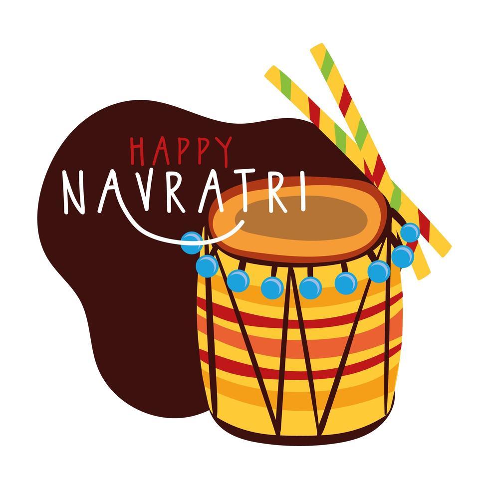 joyeuse fête de navratri avec instrument à tambour et style plat vecteur
