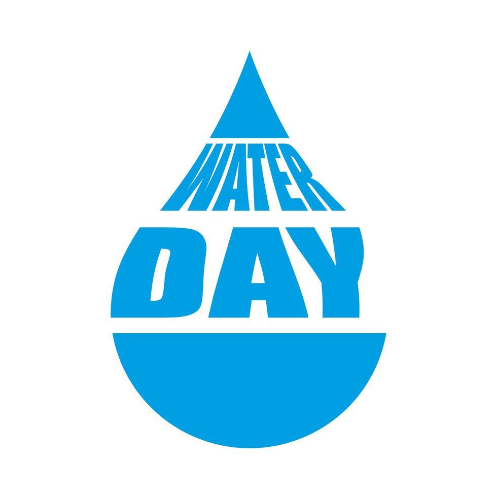 journée de l'eau en goutte d'eau, pour la célébration de l'écologie vecteur