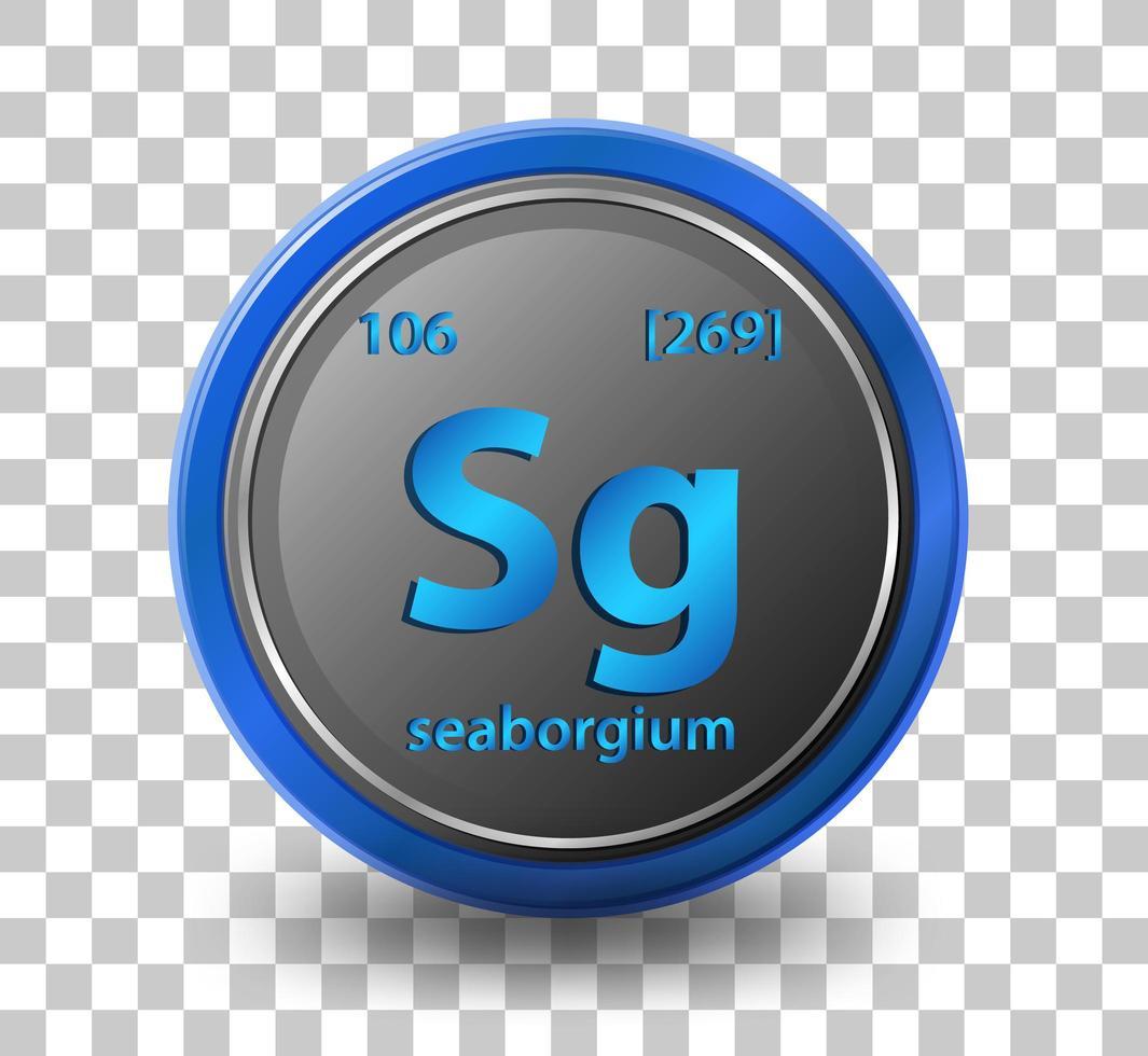 élément chimique seaborgium. symbole chimique avec numéro atomique et masse atomique. vecteur