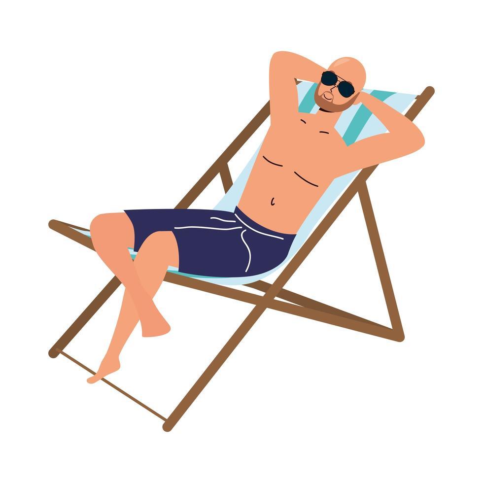 Homme portant un maillot de bain assis dans une chaise de plage vecteur