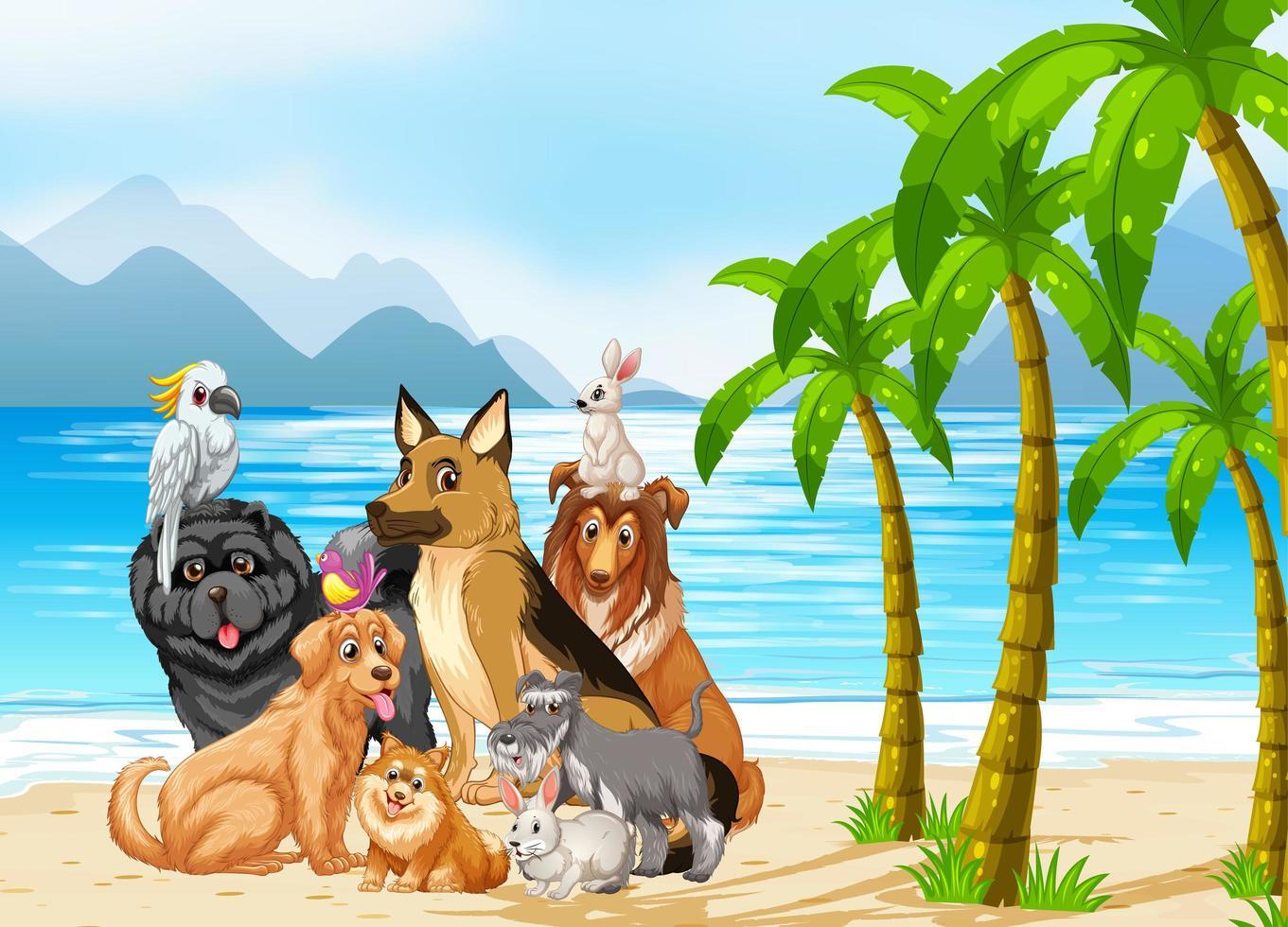 scène en plein air de plage avec un groupe d'animaux de compagnie vecteur