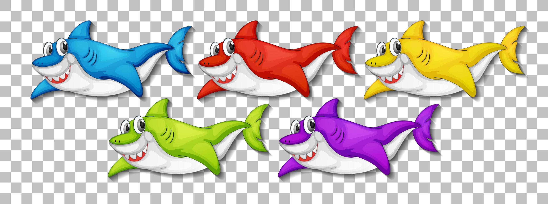ensemble de nombreux personnages de dessins animés de requin mignon souriant vecteur