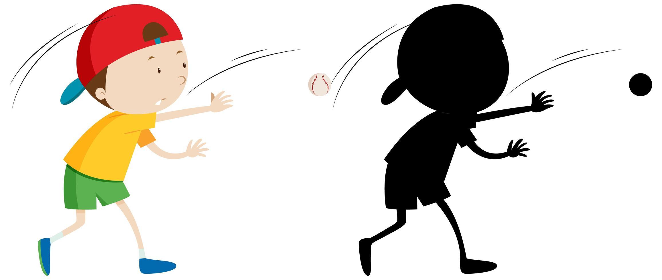 garçon jouant au baseball avec sa silhouette vecteur