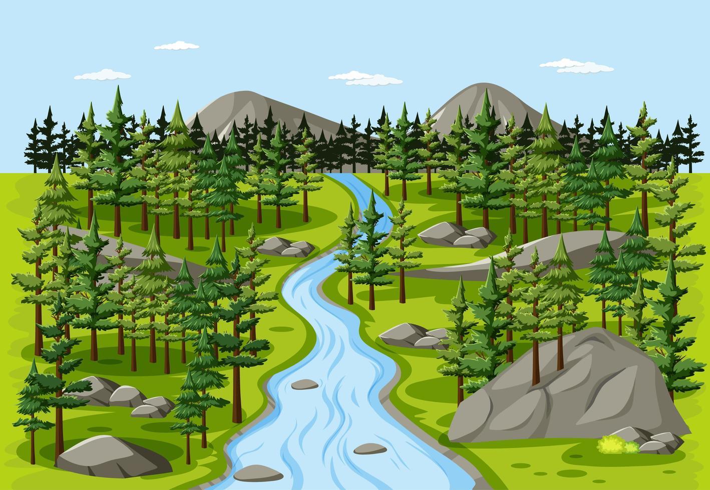 ruisseau dans la scène de paysage nature forêt vecteur