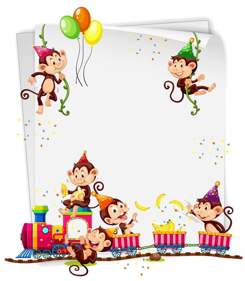 bannière vierge avec de nombreux singes dans le thème de la fête vecteur