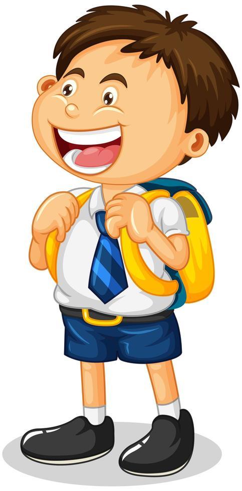 un personnage de dessin animé garçon étudiant isolé sur fond blanc vecteur