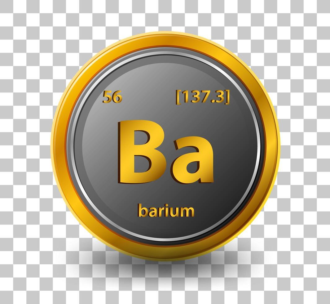 élément chimique de baryum. symbole chimique avec numéro atomique et masse atomique. vecteur