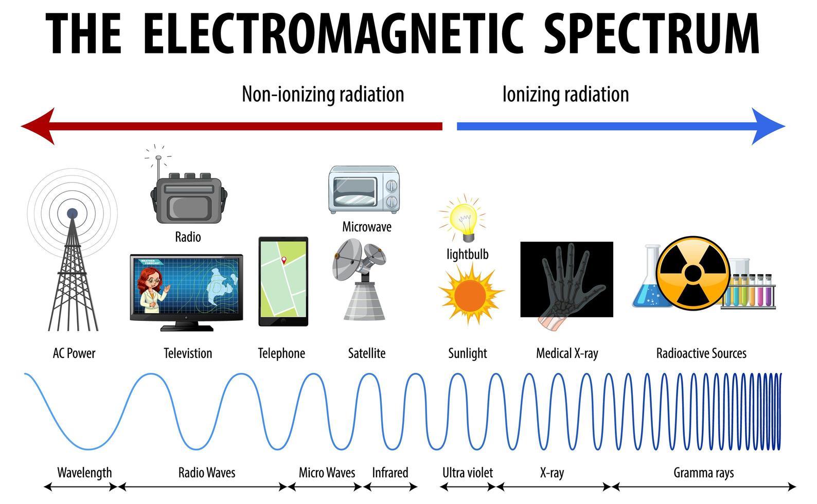 diagramme du spectre électromagnétique scientifique vecteur