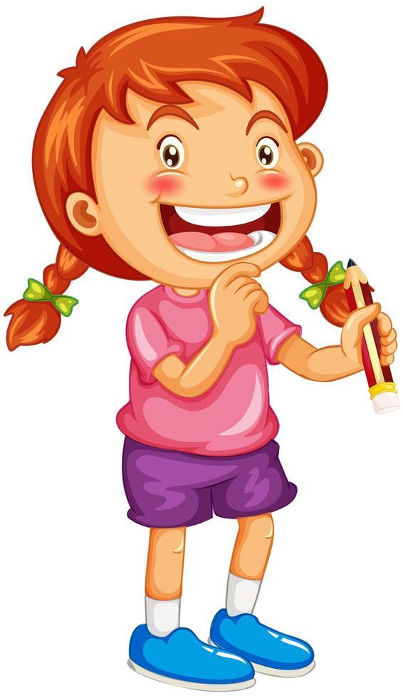 Une fille tenant un personnage de dessin animé de crayon isolé sur fond blanc vecteur