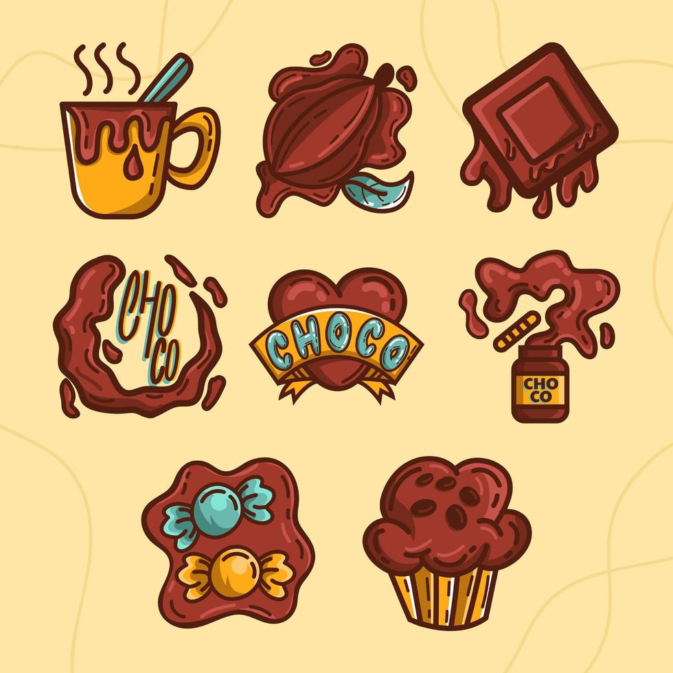 ensemble de chocolat savoureux fondant vecteur