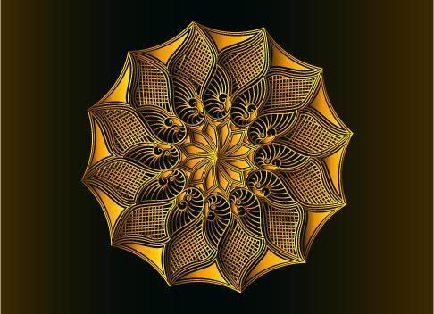 conception de mandala arabesque ornementale, florale et abstraite dorée vecteur