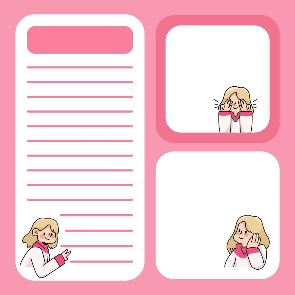 bloc-notes mignon fille conçoit de retour à l'école pour faire la liste des notes quotidiennes vecteur