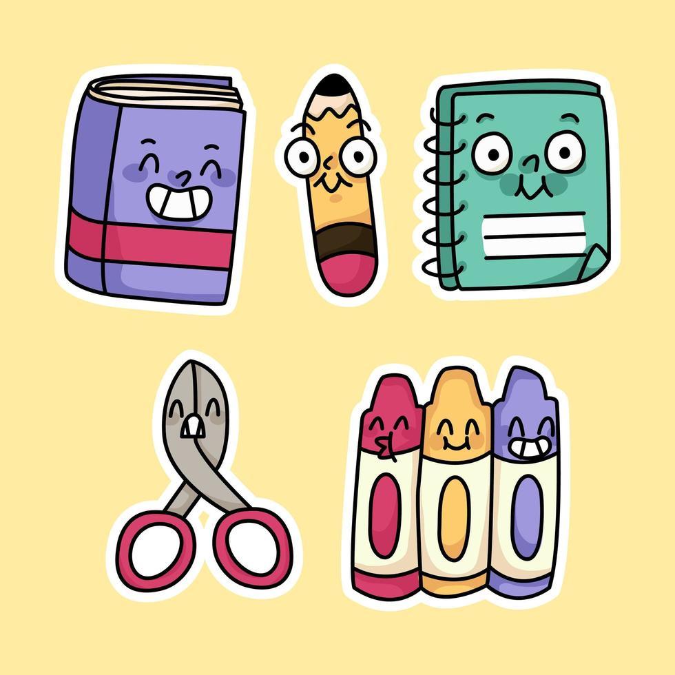 joli crayon de matériel scolaire, livre, dessin de couleurs vecteur