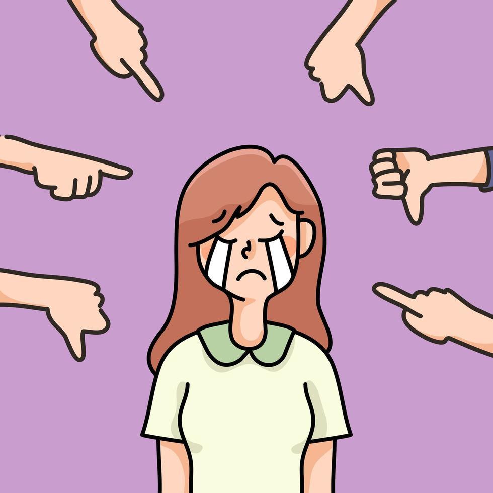 personne déprimée triste échec pas d'inspiration illustration de dessin animé mignon déçu vecteur