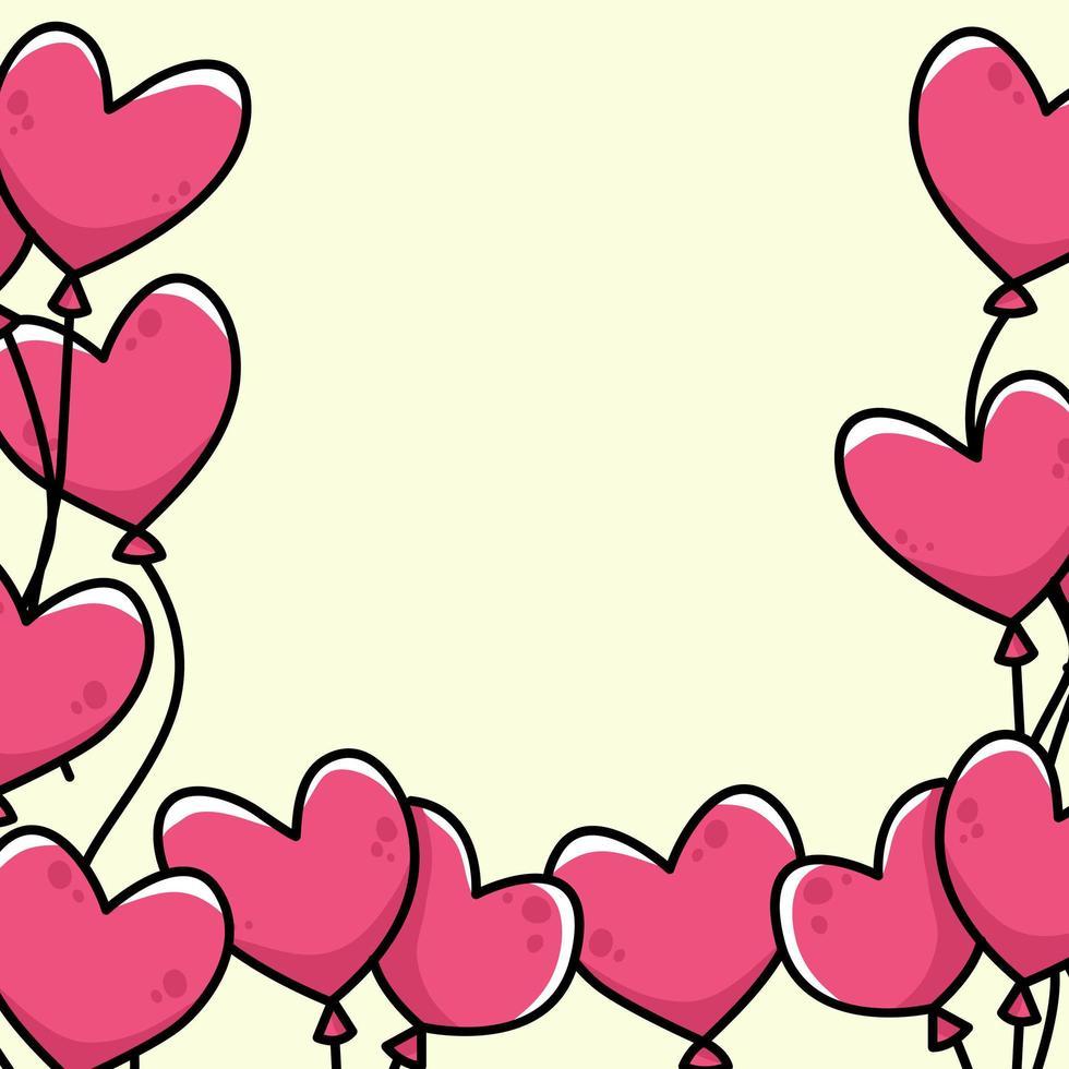 coeur dessin animé frontière fond illustration mignonne vecteur