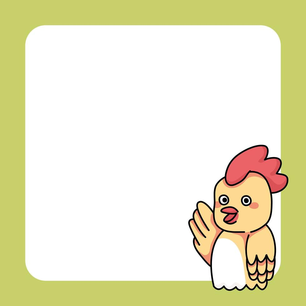 illustration de dessin animé mignon bloc-notes oiseau poulet vecteur