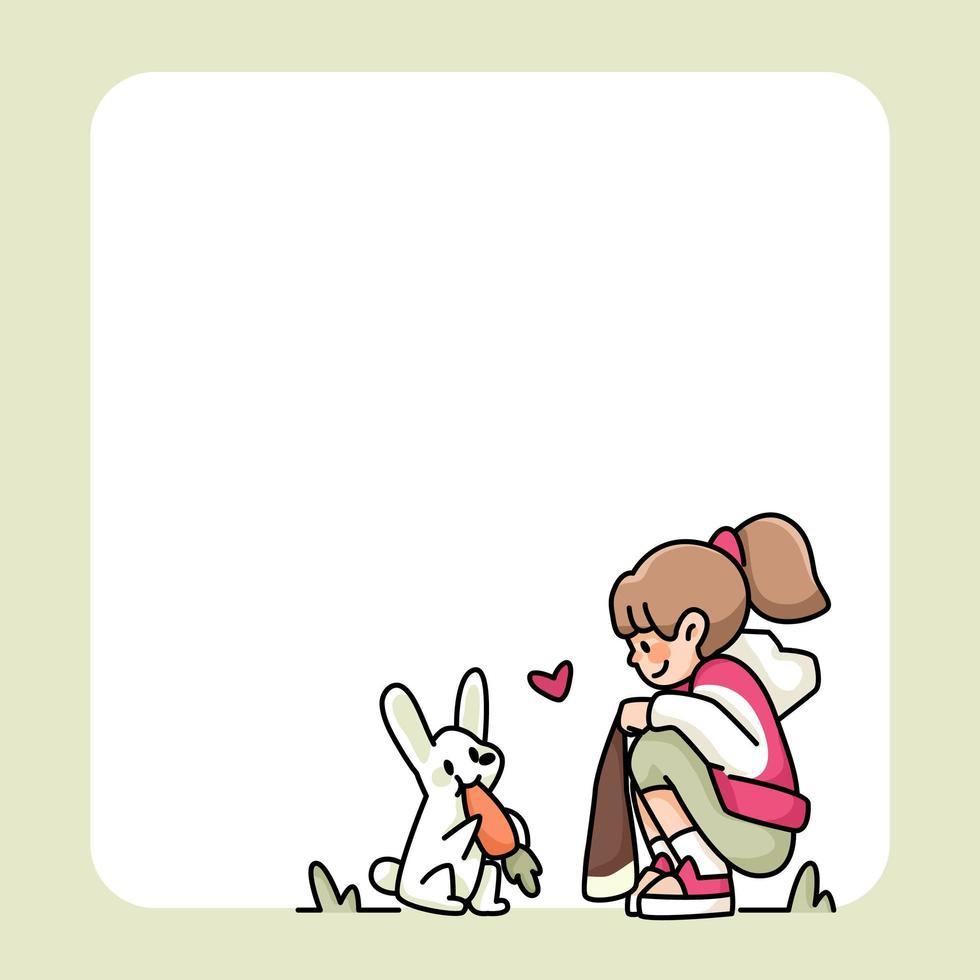 bloc-notes dessins de filles et de chats mignons vecteur
