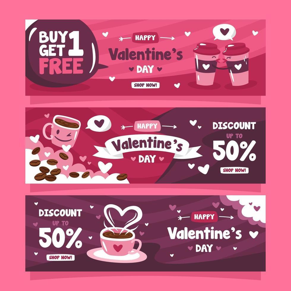 bannière de marketing de la saint-valentin pour un café vecteur