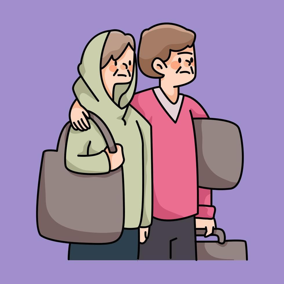 immigrants personnes dans le besoin illustration de dessin animé vecteur