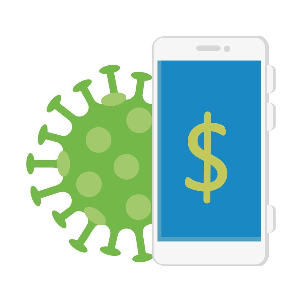 smartphone avec symbole dollar et particule covid 19 vecteur