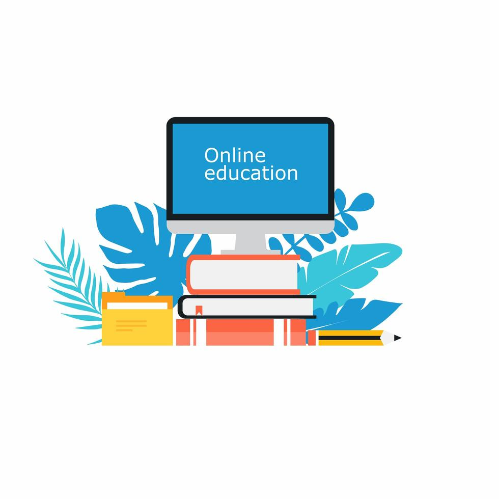 cours en ligne, concept de classe virtuelle vecteur