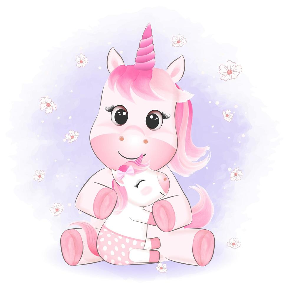 petite licorne et maman vecteur