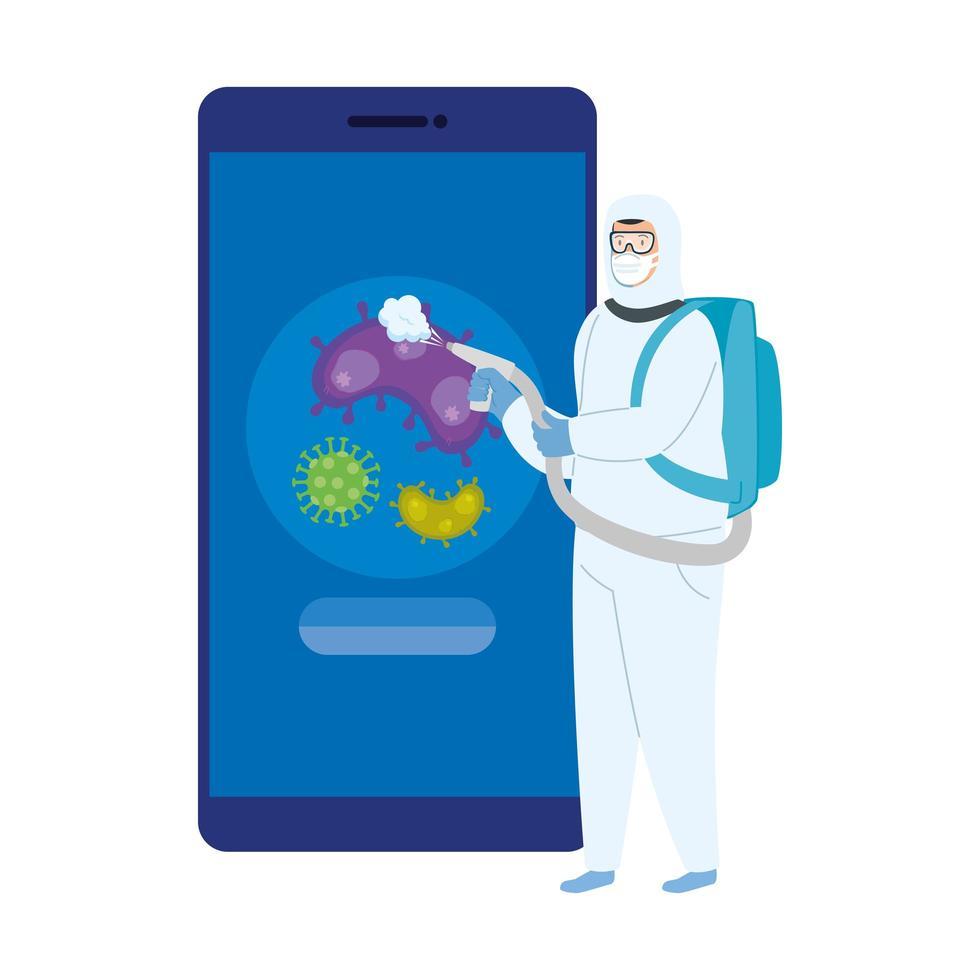 personne utilisant une combinaison biohazard pour désinfectant pour smartphone vecteur