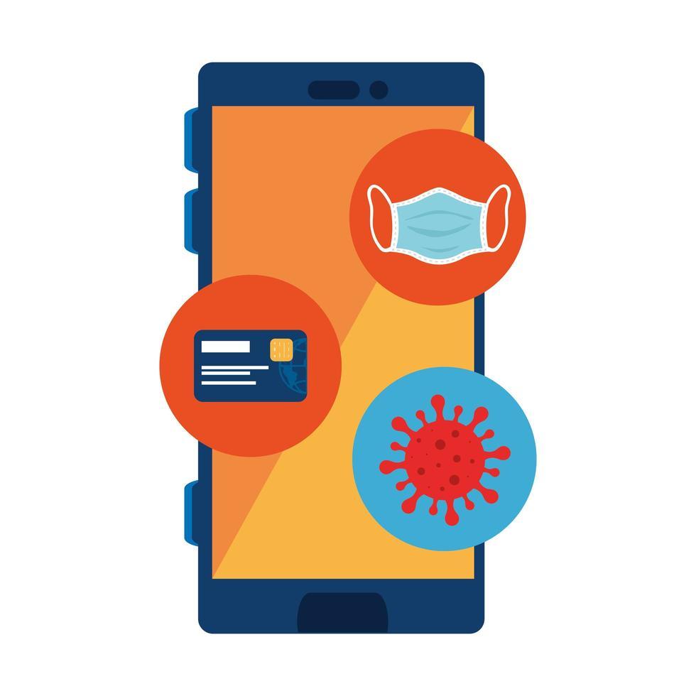 smartphone avec particules covid 19 et icônes vecteur