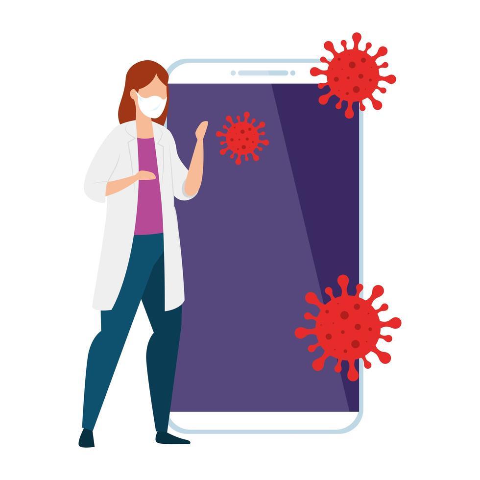 médecin femme et smartphone avec des particules covid 19 vecteur